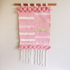 Woven wall hanging // pink wall hanging with gold by CakeSpun