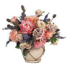 """Add a touch of garden-inspired elegance to your credenza or side table with this lovely faux floral arrangement, showcasing multicolor blooms in a charming ceramic vase.    Product: Faux floral arrangementConstruction Material: Silk, plastic, sisal and ceramicColor: Pink, purple, green and creme Features:Includes faux mixed florals Dimensions: 19"""" H x 15"""" Diameter"""