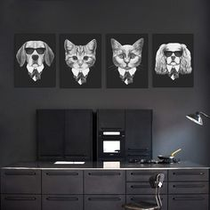 Abatract Fashion Black White Italy Mafia Animal Dog Cat Pug Canvas Big A4 Print Poster Wall Picture Home Decor Painting No Frame