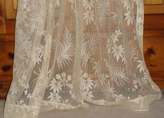 Vintage 1930s Ivory Lace Curtain Panel