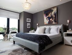 Casual Window plus Blind in Grey Bedroom Ideas with Pretty Hanging Lamp above Double Bed