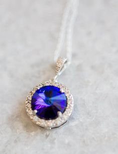 Purple Necklace for Bride, Violet Bridesmaid Necklace, Heliotrope Swarovski Necklace, Crystal Pendant Necklace, Purple and Turquoise Wedding Purple Wedding Jewelry, Bridal Jewelry, Peacock Wedding, Bridesmaid Earrings, Wedding Earrings, Mother Of The Groom Jewelry, Purple Necklace, Bridal Bracelet, Christmas Jewelry