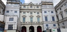 Facade building wrap to cover construction work at Somerset House Pvc Banner, The Scaffold, Outdoor Screens, Library Images, Listed Building, Photo Work, Somerset, Summer Nights, Facade