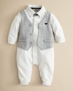 Our boys coming home outfit...? Armani Junior Infant Boys' Faux Vest Footie - Sizes 1-9 Months | Bloomingdale's