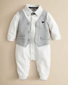 Our boys coming home outfit...? Armani Junior Infant Boys' Faux Vest Footie - Sizes 1-9 Months   Bloomingdale's