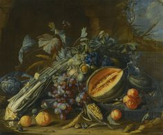 Cornelis de Heem  STILL LIFE OF FRUIT, INCLUDING A MELON, GRAPES, ORANGES AND PEACHES, TOGETHER WITH AN ARTICHOKE, CELERY, WALNUTS AND CORN, ARRANGED ON A LEDGE WITH BUTTERFLIES AND SNAILS BEFORE A STONE GROTTO IN A LANDSCAPE