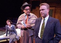 A FISHY CASE: (L to R) Kirsten Potter, Tom Shelton and Brendan Ford in Red Herring by Michael Hollinger at the Laguna Playhouse