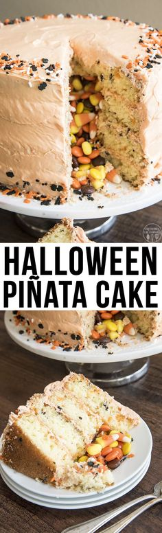 Halloween Pinata Cake - This cake is a fun and easy cake with 4 layers. There's also a fun surprise of Halloween candy inside!