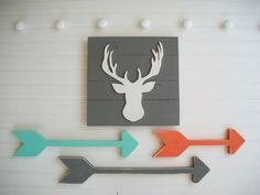 Tribal Nursery Set .Deer Head Sign and Wooden by RessieLillian