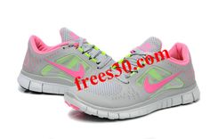 Frees30.com Over 50% Off Shoes,$49.2 Womens Nike Free Run 3 Grey Pink Electric Green Shoes
