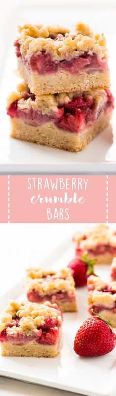 Strawberry crumble bars are sweet, buttery and made with fresh strawberries. This dessert is perfect for spring and summer! #strawberry #dessert #bars #recipe