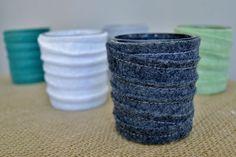 stitched felt votive holders (a tutorial) - burlap and blue
