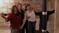 Alaskan Bush Brothers, Bear, Bam, Noah, Gabe and Matt behind the stovepipe.