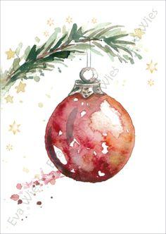 Painted Christmas Cards, Watercolor Christmas Cards, Christmas Drawing, Diy Christmas Cards, Noel Christmas, Christmas Paintings, Watercolor Cards, Xmas Cards, Christmas Bulbs