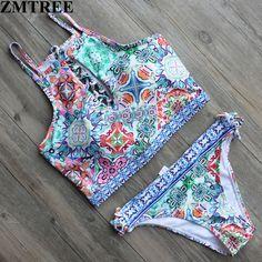 ZMTREE 2017 Newest Bandage Floral Print Bikinis Women High Neck Swimwear Back Cross Swimsuit Girls Biquinis Beach Bathing Suits