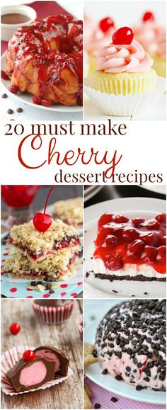 20 Cherry Dessert Recipes you must make! Mouthwatering cherry pies, cakes, cookies, ice cream, and more!I LOVE CHERRIES Cherry Pies, Cherry Desserts, Cherry Recipes, Cookie Desserts, Fruit Recipes, Easy Desserts, Dessert Recipes, Top Recipes, Easy Recipes