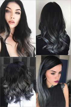 18 hair care products that give you the shiny curls of your dreams – love hair, – Balayage Haare Ombre Hair Color, Cool Hair Color, Black To Grey Ombre Hair, Black Colored Hair, Blue Grey Hair, Silver Ombre Hair, Grey Hair Dye, Dyed Hair Ombre, Gray Ombre