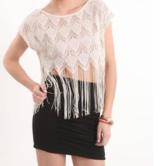 Kirra top size M/L -champagne & gold, crop, fringe Kirra top size M/L -champagne & gold colors, cropped short sleeve top with long strands of fringe.. worn just 1-2 times total. Purchased from PacSun. Kirra Tops