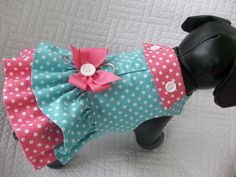 Easter Dog Dress Polka Dots with Built In Harness Fully Lined Custom Made. $19.95, via Etsy.