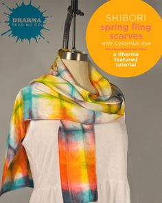 Shibori Spring Fling Scarves with ColorHue Dyes  #mothersday #easter #gift