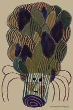 'Artichoke face' (c.2012) by Italian artist & illustrator Beatrice Alemagna (b.1973). via the artist's site, The Topsy Turvy Book