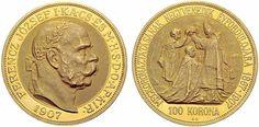 Franz Joseph I (1830-1916), Hungary, 100 Korona, 1907, coronation jubilee.