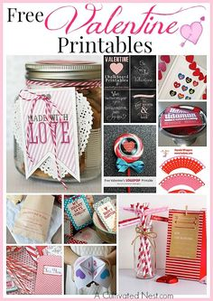 Make the day more special for your loved ones with these 14 Free Valentine's Day Printables, cupcake toppers, cards, chocolate bar wraps, treat bags, tags and more!