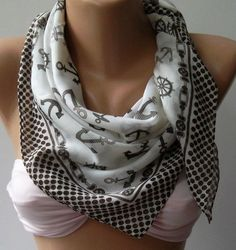Marine Shawl  Brown and White Shawl  Cotton Scarf  by womann, $12.90