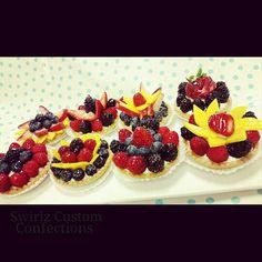 Mini fruit tarts www.swirlzcustomconfections.com