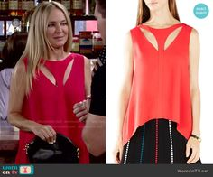Sharon's red top with cutouts on The Young and the Restless.  Outfit Details: http://wornontv.net/51693/ #TheYoungandtheRestless