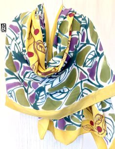 Silk Wrap Shawl Scarf Handpainted Large por SilkScarvesTakuyo