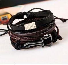 1 ensemble de 3 pcs Bracelets Mode Bijoux Alliage Guitare  en Cuir  pour Homme livraison gratuite