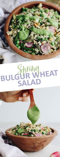 Celebrate the arrival of spring with this Spring Bulgur Wheat Salad with Avocado Herb Dressing. This bulgur salad is simple to make and full of delicious ingredients made from the spring harvest.