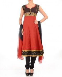 #Exclusivelyin, classic Tomato Red Anarkali Suit with Print Work black brocade