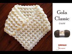 Gola Classic - Gola de Crochê - passo a passo Simone Eleotério , Chunky Crochet, Crochet Poncho, Crochet Scarves, Crochet Yarn, Crochet Clothes, Crochet Stitches, Beginner Knit Scarf, Hand Knit Scarf, Crochet Capas