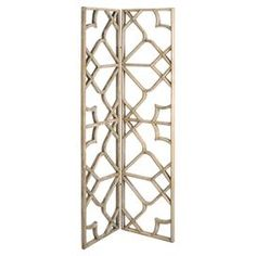 "Two-panel openwork wood room divider.   Product: Room dividerConstruction Material: WoodColor: NaturalFeatures: Two panelsDimensions: 76"" H x 38"" W x 2"" D (overall)"