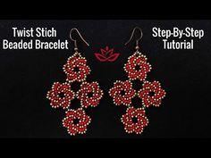 Dimond Shaped Twist Stich Earrings - Tutorial. How to make beaded earrings? - YouTube