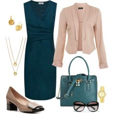 """""""Teal and Taupe"""" by fiftynotfrumpy on Polyvore"""