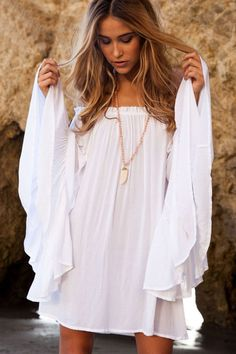 2015 New Beach Cover Up Bikini Covers Swimwear Summer Dress Women Beach Wear Swimsuit Cover Up Robe De Plage Boho-in Cover-Ups from Women's Clothing Mode Hippie, Bohemian Mode, Bohemian Summer, Hippie Gypsy, Hippy, Boho Fashion, Fashion Outfits, Womens Fashion, Chic Outfits