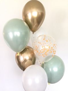 Sage green and gold balloons! These stunning, one-of-a-kind balloons are the perfect way to make a pop at your next event! This Sage Green Balloon Bouquet includes: 2 Sage Green Double Layered Latex 11 Balloons, the appearance of Layering Two Gold Balloons, Wedding Balloons, Prom Balloons, Green Bridal Showers, Bridal Shower Colors, Sage Green Wedding, Light Wedding, Elegant Wedding, Balloon Lights