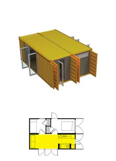 Tour your Montainer Container Home - Montainer (their sample floorplans don't include bathrooms for some reason) Shipping Container Design, Cargo Container Homes, Container Shop, Shipping Container House Plans, Container Cabin, Storage Container Homes, Container House Design, Shipping Containers, Container Architecture