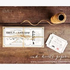 vintage, circus, ticket style invitation for rustic wedding, lips and moustache, twine.