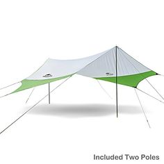 Topnaca Portable Outdoor Shade Camping Tarp Sun Shelter Awning Canopy with Poles Lightweight Waterproof Sun-proof x 181 for Beach Tent Hiking Fishing Picnic (Green&Grey L Camping Tarp, Hiking Tent, Camping And Hiking, Beach Tent, Beach Picnic, Tent Accessories, Awning Canopy, Outdoor Sun Shade, Diy Outdoor Furniture