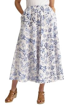 Plus Size Petite skirt in cool linen blend, maxi length Woman Within