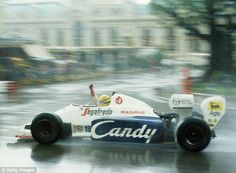 In control: Ayrton Senna became a legend for his wet weather abilities.  #F1 pic here during the Monaco Grand Prix in Monte Carlo