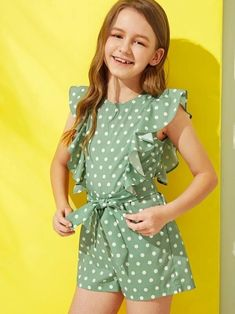 To find out about the Girls Polka Dot Ruffle Armhole Belted Romper at SHEIN, part of our latest Girls Jumpsuits ready to shop online today! Preteen Girls Fashion, Girls Fashion Clothes, Kids Fashion, Fashion Outfits, Baby Girl Dress Patterns, Dresses Kids Girl, Girl Outfits, Baby Dresses, Dress Girl