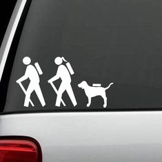 HIKER COUPLE HIKING DOG BACKPACK CAMPING FAMILY Sticker Decal ...