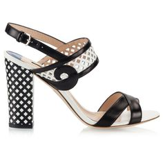 ade70dbc6ac2 Alberto Guardiani DENISE Black and white hole-punched calfskin check block  heel sandals Block Heels