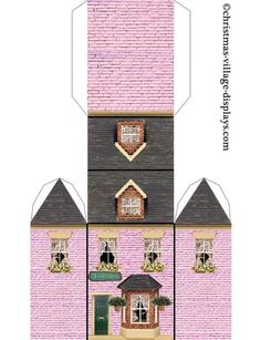 Pin by Billie Jean Brown on Paper houses Christmas Village Houses, Christmas Village Display, Putz Houses, Christmas Villages, Paper Doll House, Paper Houses, Paper Art, Paper Crafts, House Template
