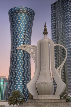 Doha, Qatar: Teapot Sculpture and Tornado Tower